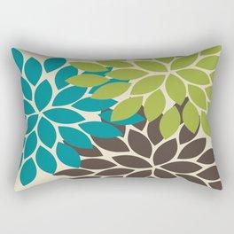 Bold Colorful Biege Brown Teal Green Dahlia Flower Burst Petals Rectangular Pillow