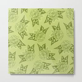 Cabbage Roses in Chartreuse Metal Print