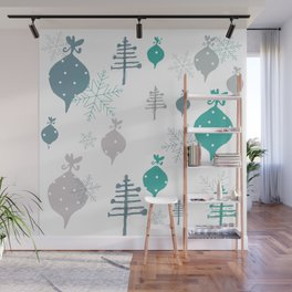 Christmas white ornaments Wall Mural