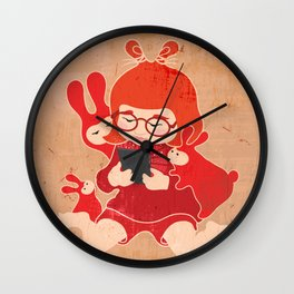 Tablet Girl - Let's Share Wall Clock