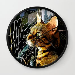 bengal cat yearns for freedom vector art Wall Clock