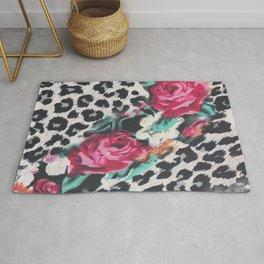 Vintage black white pink floral cheetah animal print Rug