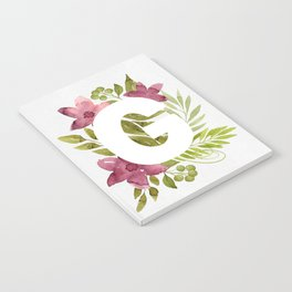 Monogram G with red waercolor flowers and green leaves. Floral letter G. Botanical illustration. Notebook