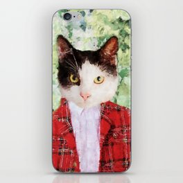 Black and white cat with red suit jacket iPhone Skin