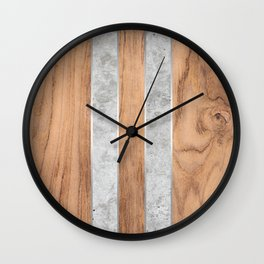 Wood Grain Stripes Concrete #347 Wall Clock