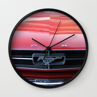 mustang Wall Clocks featuring Mustang by JJ's Photography