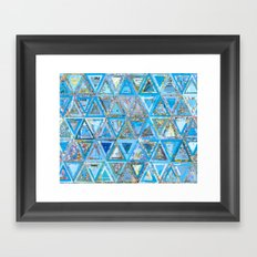 Blue Triangle Map Collage Framed Art Print