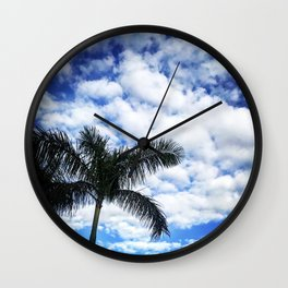 Blue Blue Palm Sky Wall Clock