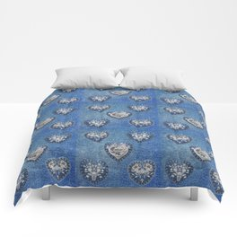 Flowers On Hearts Comforters