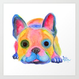 Nosey Dog French Bulldog ' AM I FRENCH ? ' by Shirley MacArthur Art Print