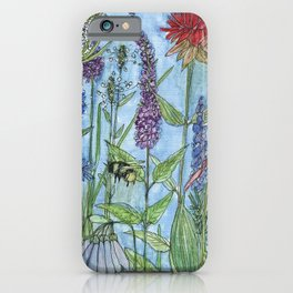 Watercolor Garden Flower Botanical Wildflowers Lady Slipper Orchid iPhone Case