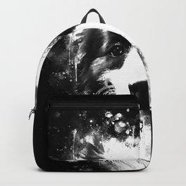 border collie shepherd dog splatter watercolor white Backpack