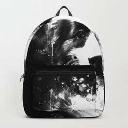 border collie shepherd dog splatter watercolor white Backpack