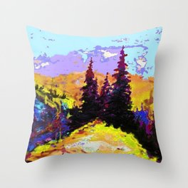 Decorative Abstract Blue Purple Landscape Art Throw Pillow