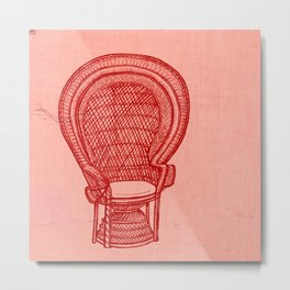 Wicker Chair Metal Print