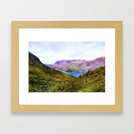 View Down to Buttermere, Lake District, UK Watercolour Painting Framed Art Print