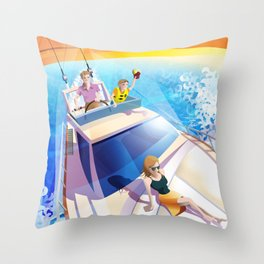 FAMILY ON YACHT Throw Pillow