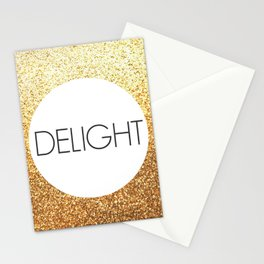 One Word - Delight - Gold Glitter Stationery Cards
