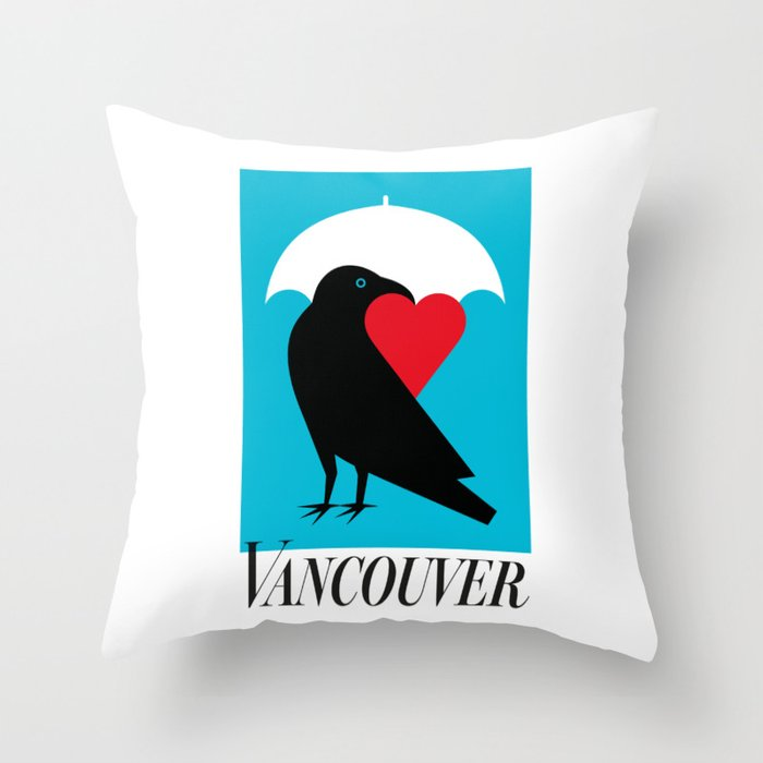 Vancouver's Canuck the Crow Throw Pillow