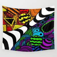 zentangle Wall Tapestries featuring Zentangle by Grace Thanda