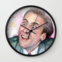 nicolas cage Wall Clocks featuring Nicolas Cage You Don't Say by Olechka