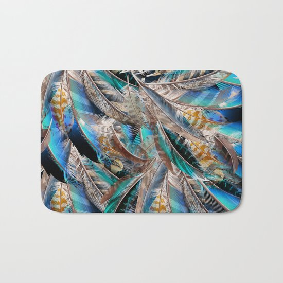 Fashion pattern with blue feathers. Trendy design Bath Mat