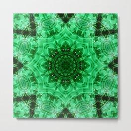 Malachite Star Mandala Metal Print