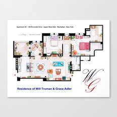 Apartment of Will Truman and Grace Adler - Floorplan Canvas Print