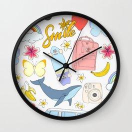 vsco girl - sticker like pattern Wall Clock