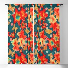 Amaryllis and Butterflies 2 Blackout Curtain
