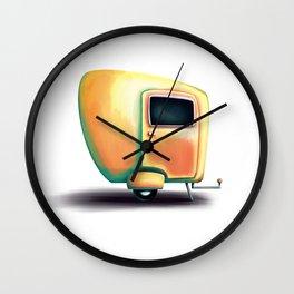 Yellow summer breeze caravan Wall Clock