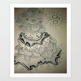 Ink Doodle Sprial Design Art Print