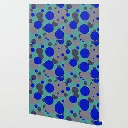bubbles blue grey turquoise design Wallpaper