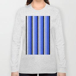 Speckled Blue Vertical Line Pattern Long Sleeve T-shirt