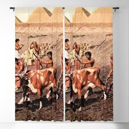 Classical Masterpiece Egyptian Farmers & Giza Pyramids by Herbert Herget Blackout Curtain
