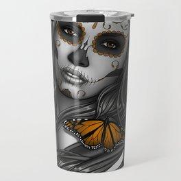 Sugar Skull Tattoo Girl with Butterflies Travel Mug
