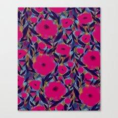 Layered Leaf Floral Fuchsia Canvas Print