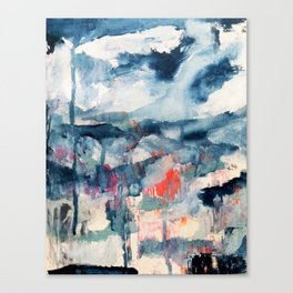 Before the Storm - an abstract acrylic and ink piece in blues, white, pink, and red Canvas Print