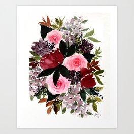 Burgundy Rose Flower Bouquet Art Print