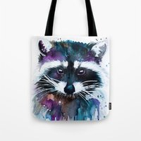Tote Bags featuring Raccoon by Slaveika Aladjova