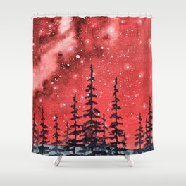 """Red Milky Way"" Galaxy watercolor illustration Shower Curtain"