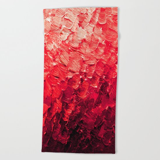 MERMAID SCALES 4 Red Vibrant Ocean Waves Splash Crimson Strawberry Summer Ombre Abstract Painting Beach Towel