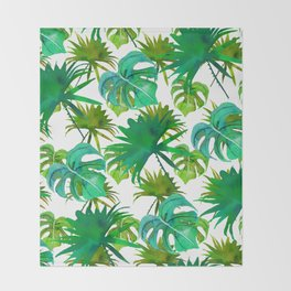 Abstract hand painted forest green watercolor tropical leaves Throw Blanket