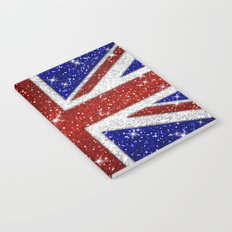 Glitters Shiny Sparkle Union Jack Flag Notebook