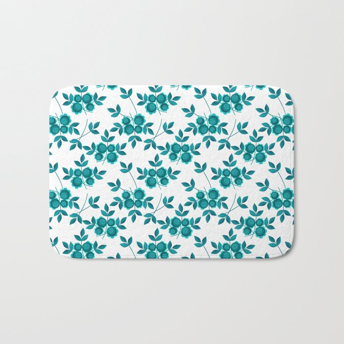 Retro .Turquoise flowers on a white background . Bath Mat