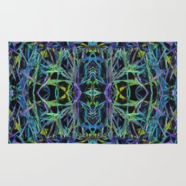 Psychedelic Geometric Grass Quilt in Blue Rug