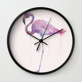 Watercolor Flamingo Art Wall Clock
