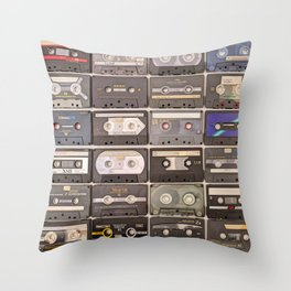 Cassette Tape Wall Retro Decor Tapes Throw Pillow