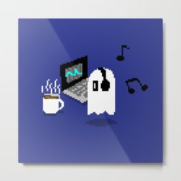 Chilling Napstablook With Laptop and Coffee Undertale Pixel Art Cute Metal Print