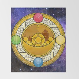 Sailor Moon Crystal stained glass window Transformation Brooch Throw Blanket